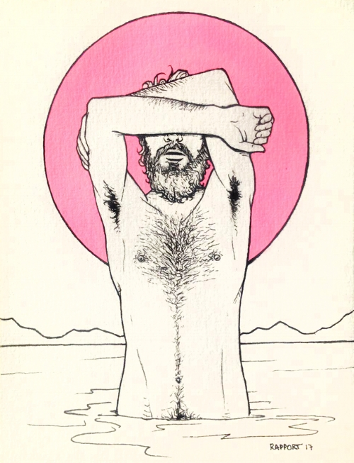 pink moon. pen and ink on paper.