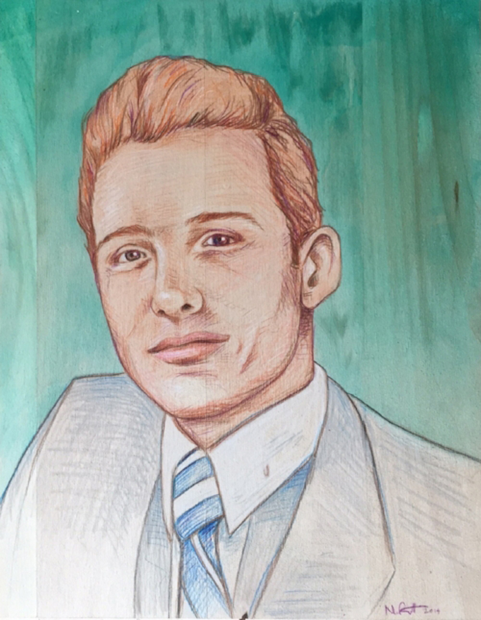 Henry. Acrylic and colored pencil on birch.