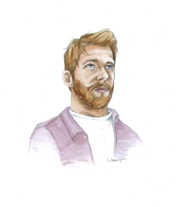 Self portrait. Watercolor on paper.