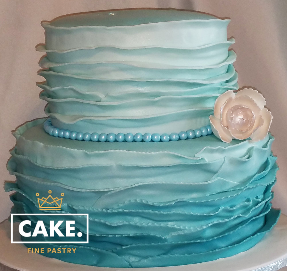 Blue Wave Ombre Wedding Cake