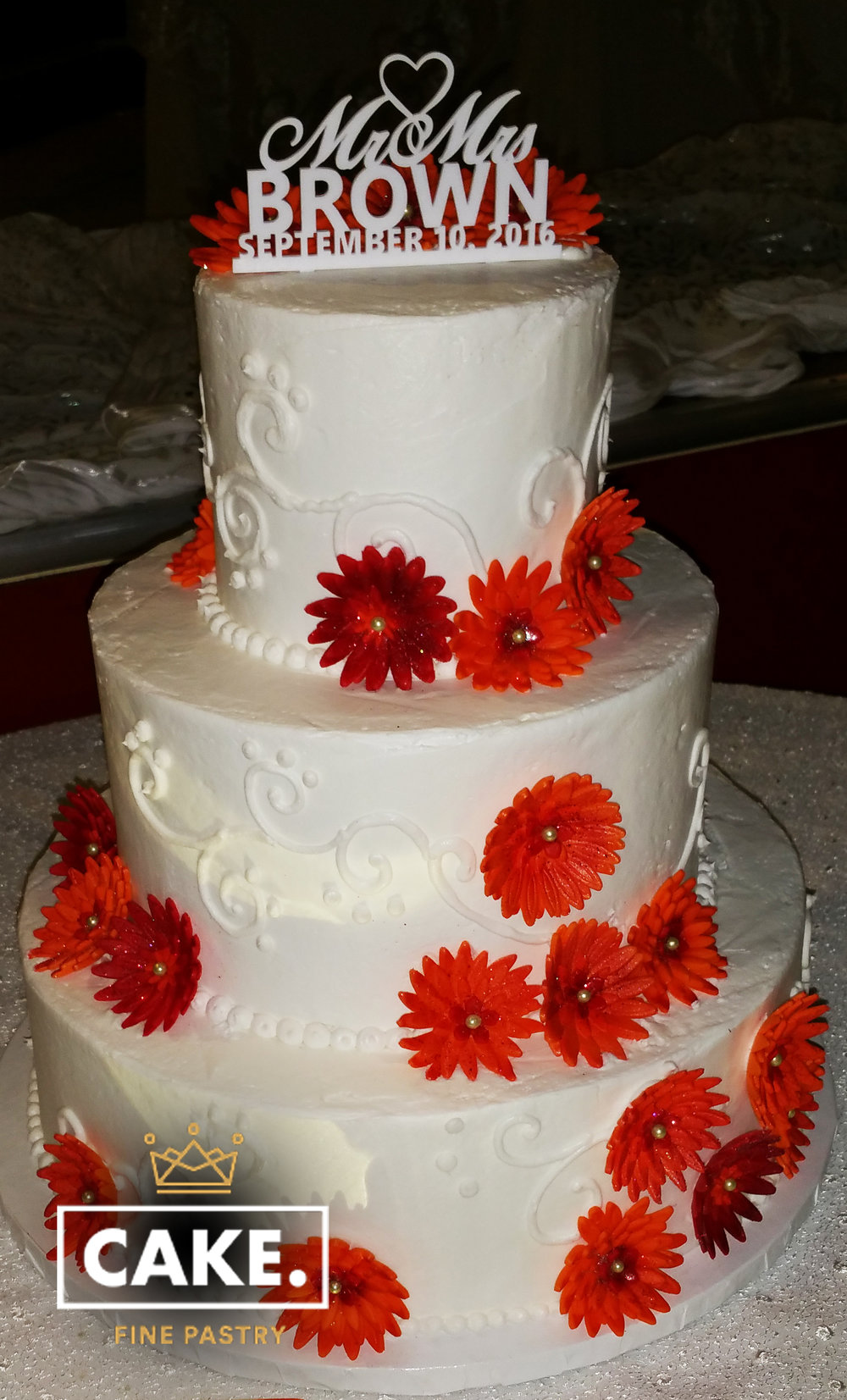 Red Flowered Wedding Cake