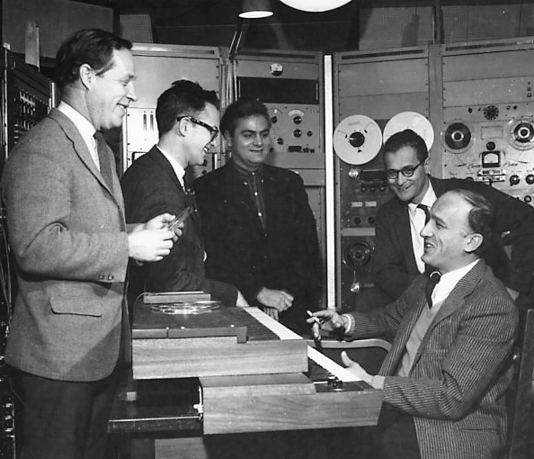 Herbert Brün, Charles Hamm, Lejaren Hiller, Salvatore Martirano, Kenneth Gaburo at the University of Toronto, 1965.