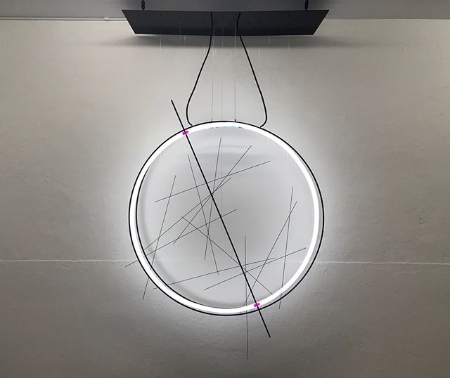 Oscillation between 22.1 ° and 24.5 ° on a 41,000 year cycle • 100cm x 100cm x 30cm • 2017 • . . . . .  #corihoher #studiocorinahoher #artbasel2017 #neon #light #ophiuchus #astronomy