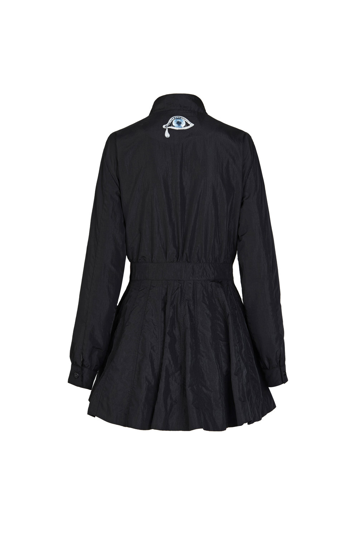黑收腰廓形连衣裙风衣
