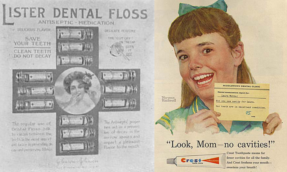 Vintage advertising from Lister, above left and Crest, above right.