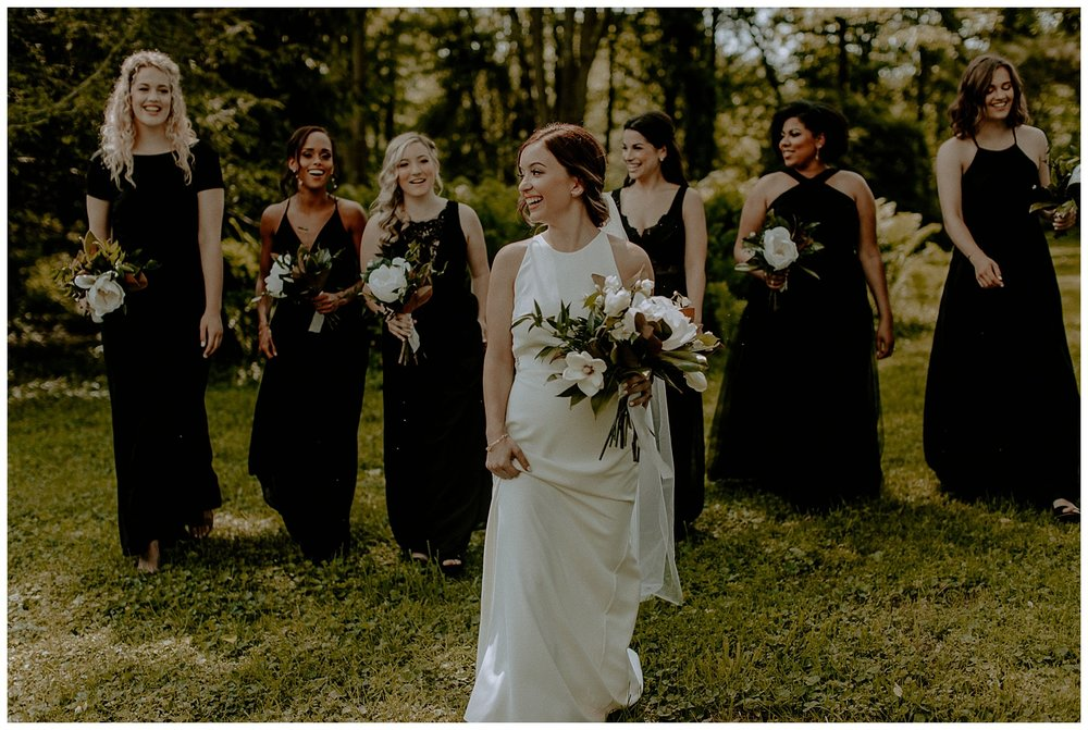 black dress bridesmaids