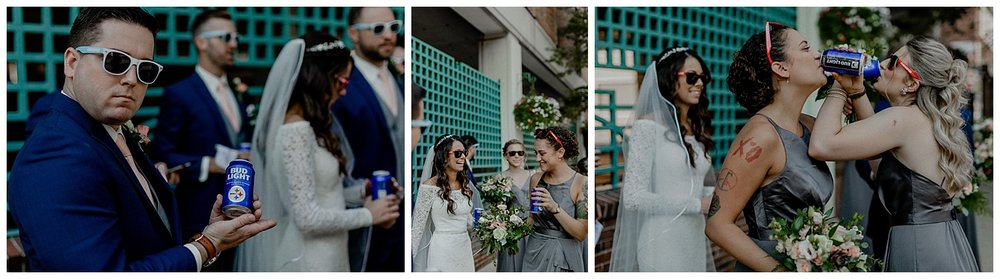 bridal party drinking bud light
