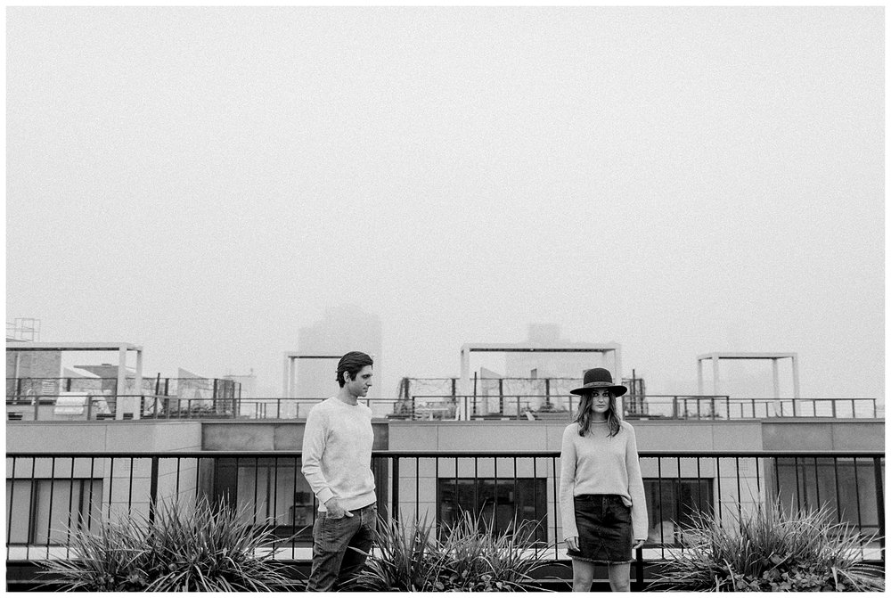 brooklyn rooftop engagement session