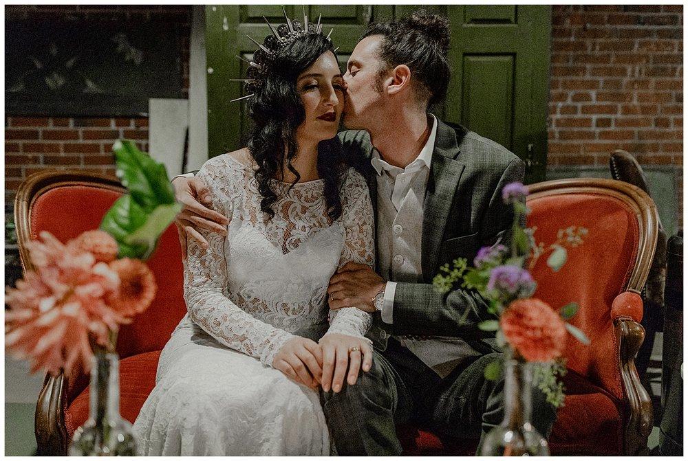 bohemian wedding couple