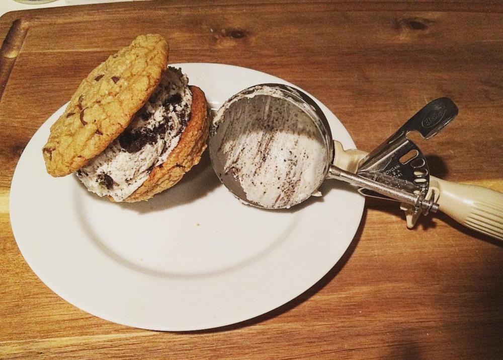 Chocolate Chip Cookies & Cream Ice Cream Sandwich