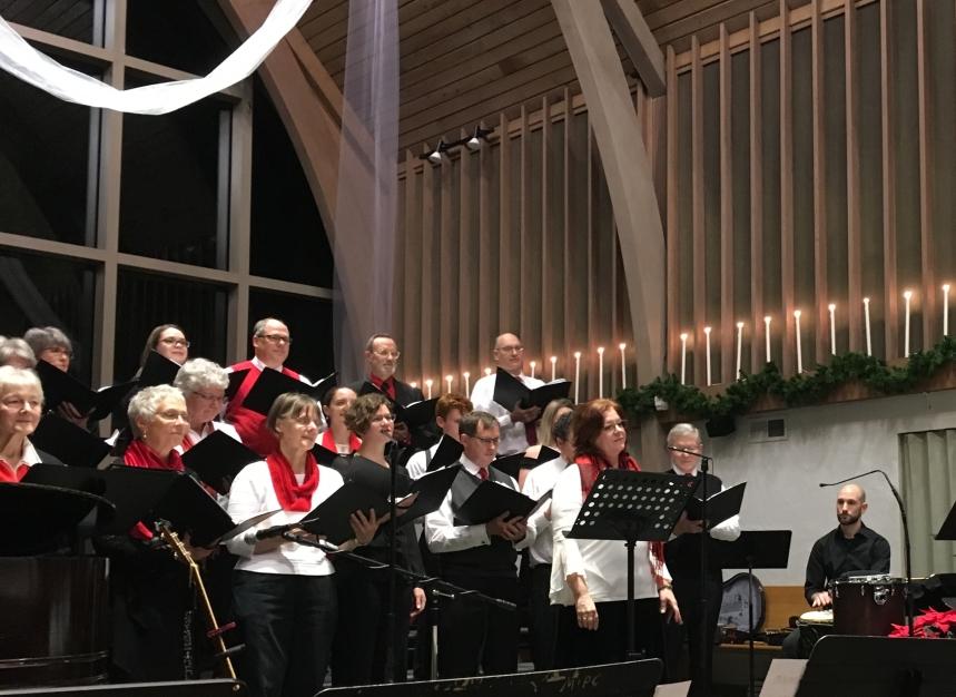 """A joyful moment for the choir during """"Gloria"""""""