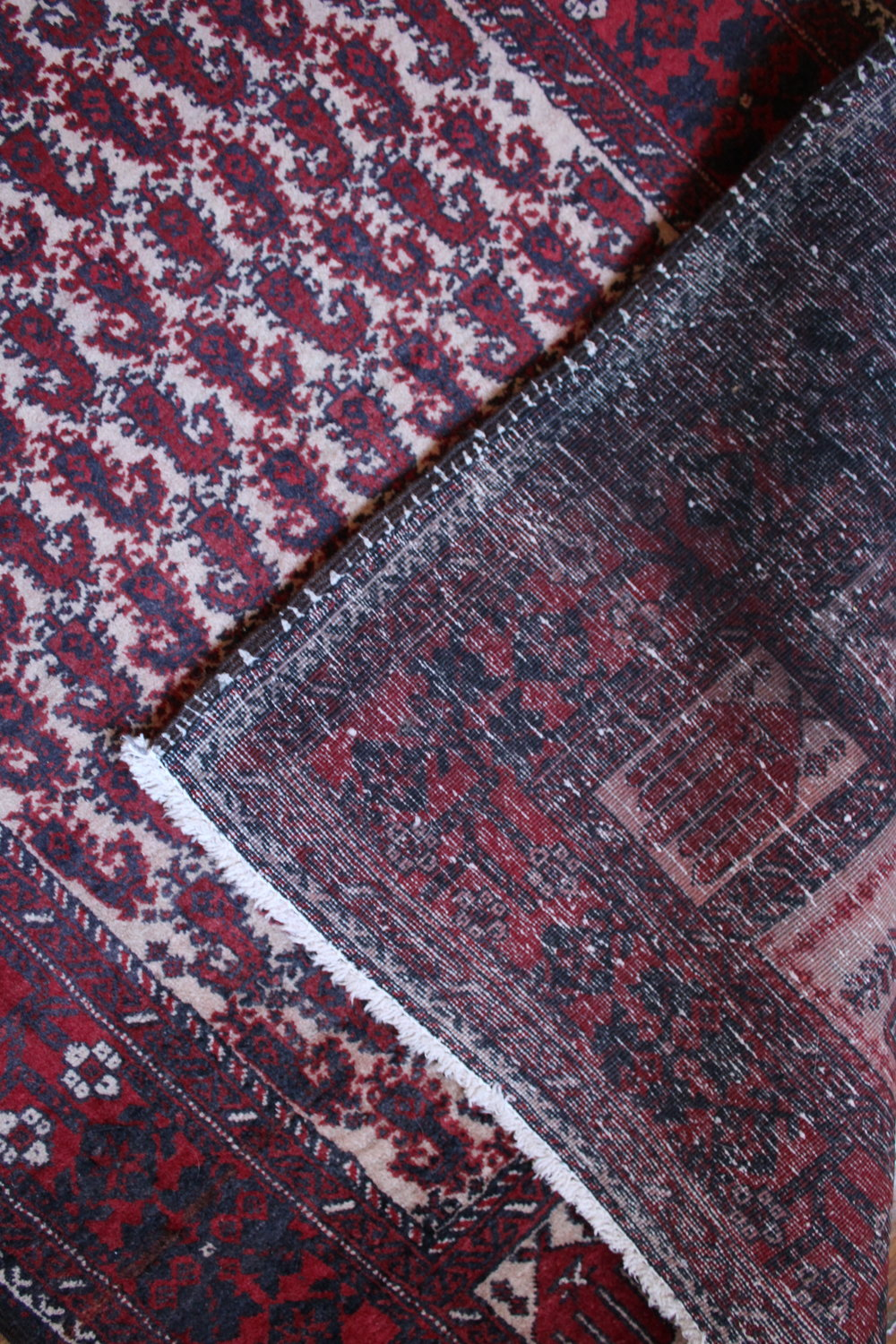 Handmade rug where you can see all of the knots and details of the work.