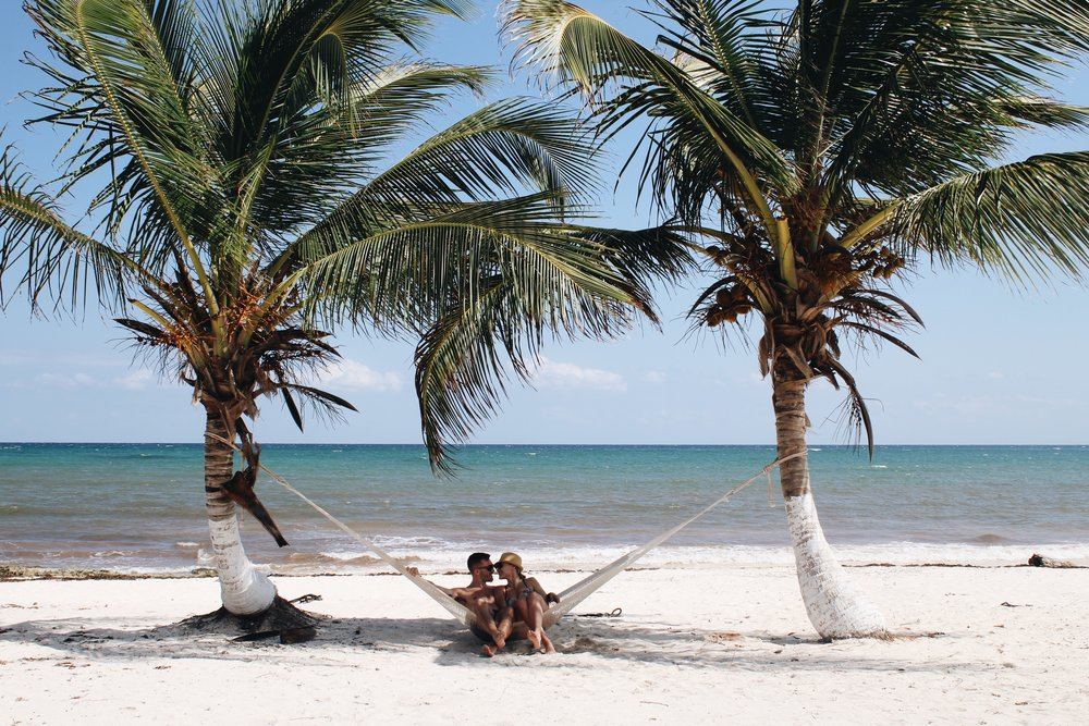 Tulum Mexico Couple Palm Trees With Love From Her Heart
