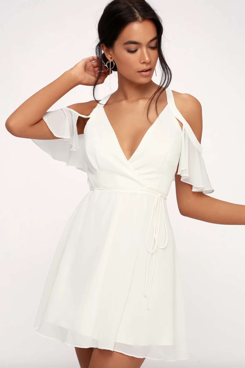 BOMBSHELL WHITE OFF-THE-SHOULDER WRAP DRESS Bachelorette party dress, white dress, cocktail dress, bridal shower dress | www.thoughtfully-thrifted.com