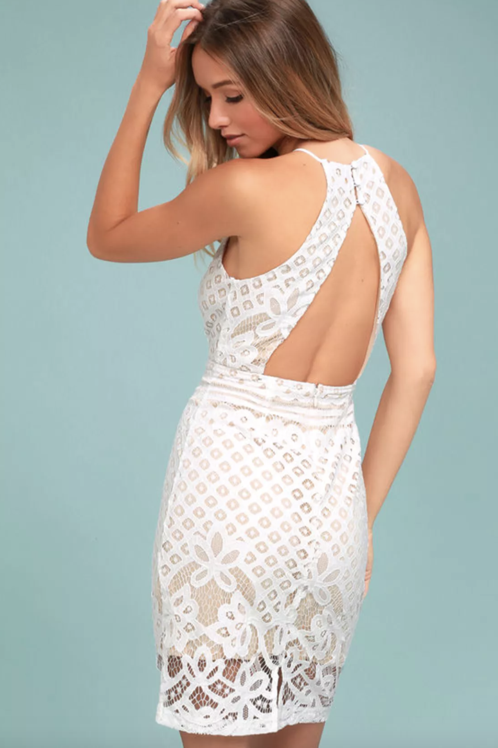 STEAL A KISS WHITE LACE DRESS | Cocktail dress, White dress, lace dress, nude and lace, bachelorette party dress, bridal shower dress, rehearsal dinner dress | www.thoughtfully-thrifted.com