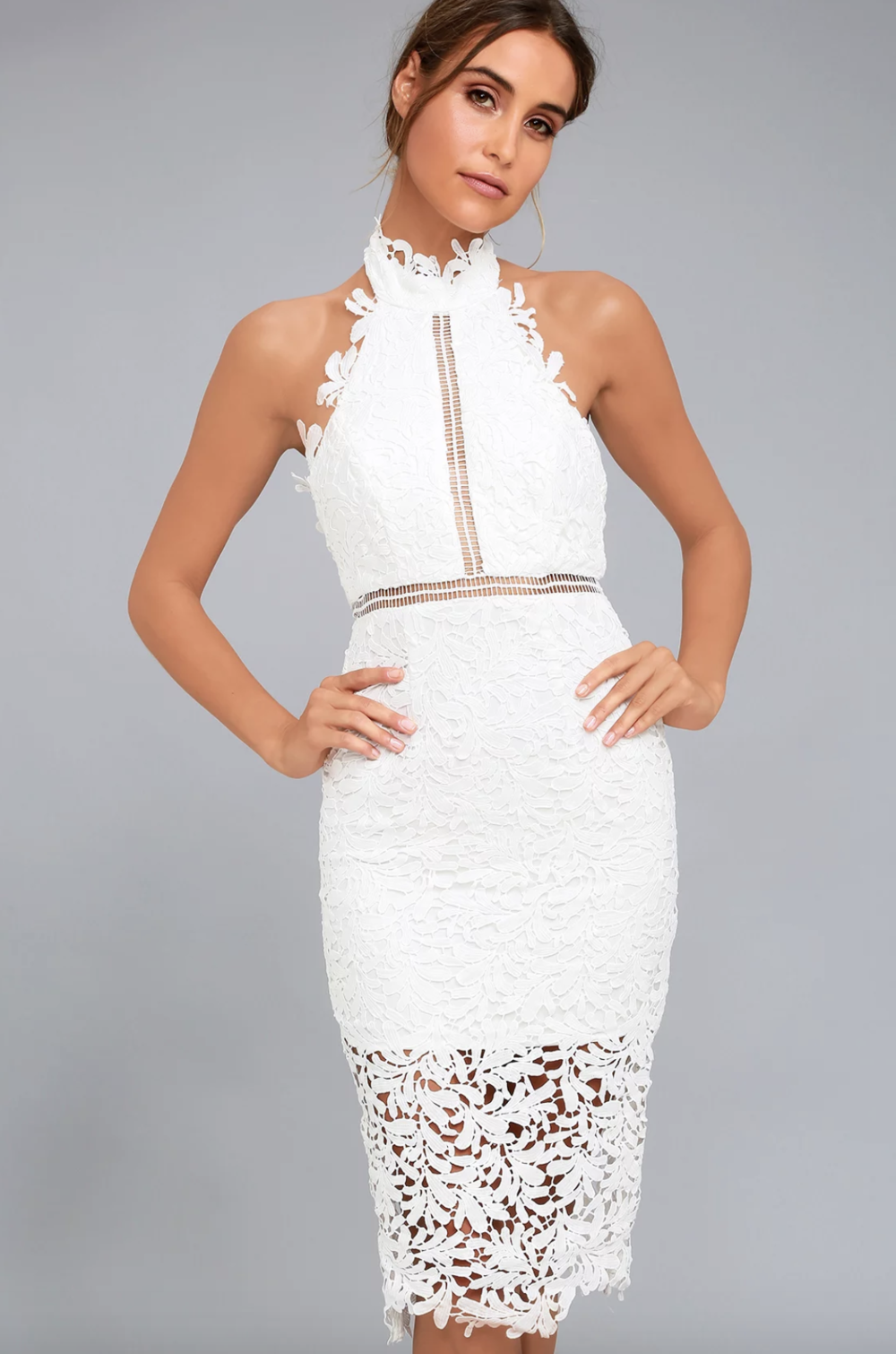 DIVINE DESTINY WHITE LACE MIDI DRESS | Cocktail dress, White dress, lace dress, nude and lace, bachelorette party dress, bridal shower dress, rehearsal dinner dress | www.thoughtfully-thrifted.com