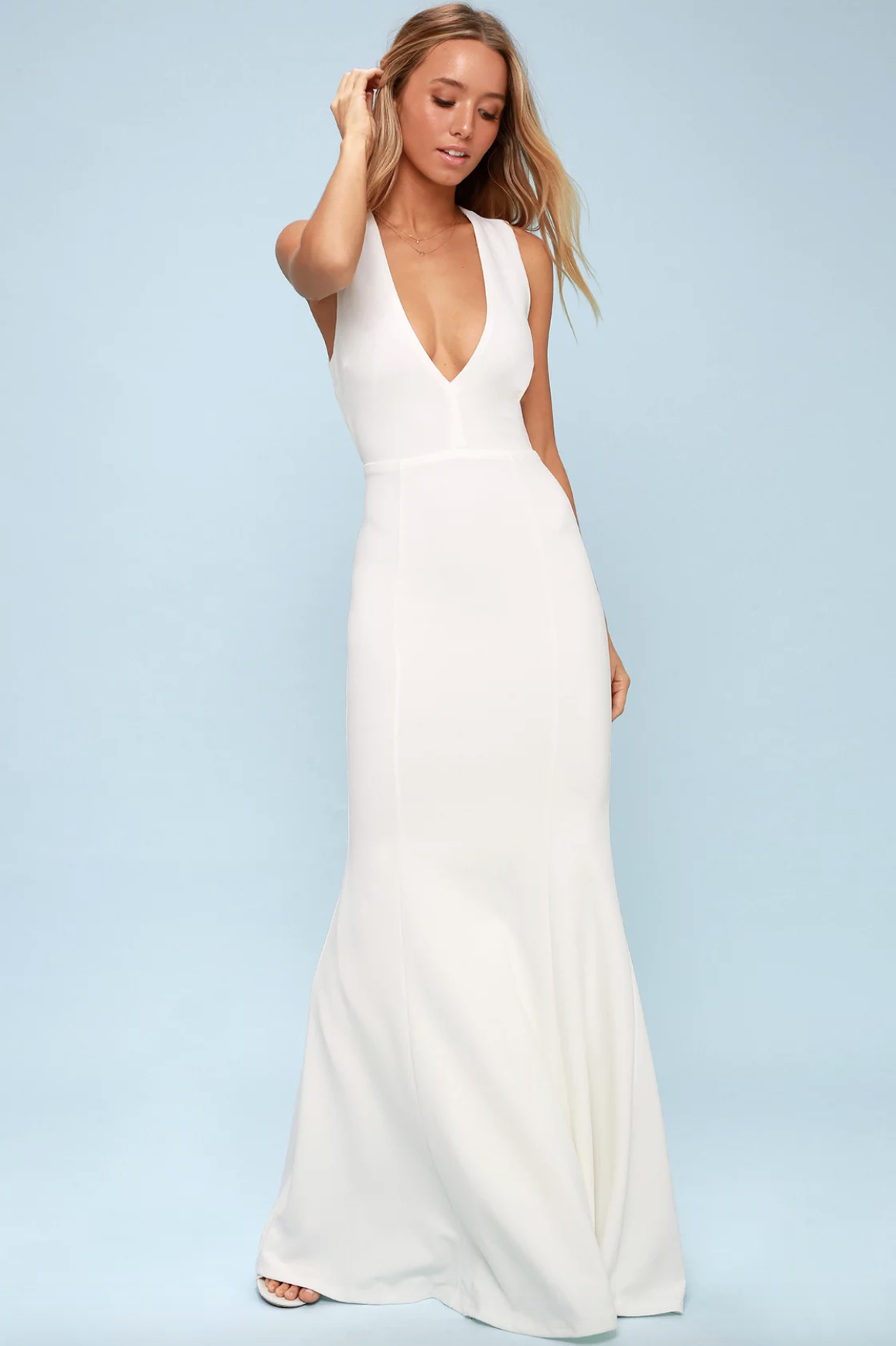 Simple, affordable, white, long sexy wedding dress | www.thoughtfully-thrifted.com