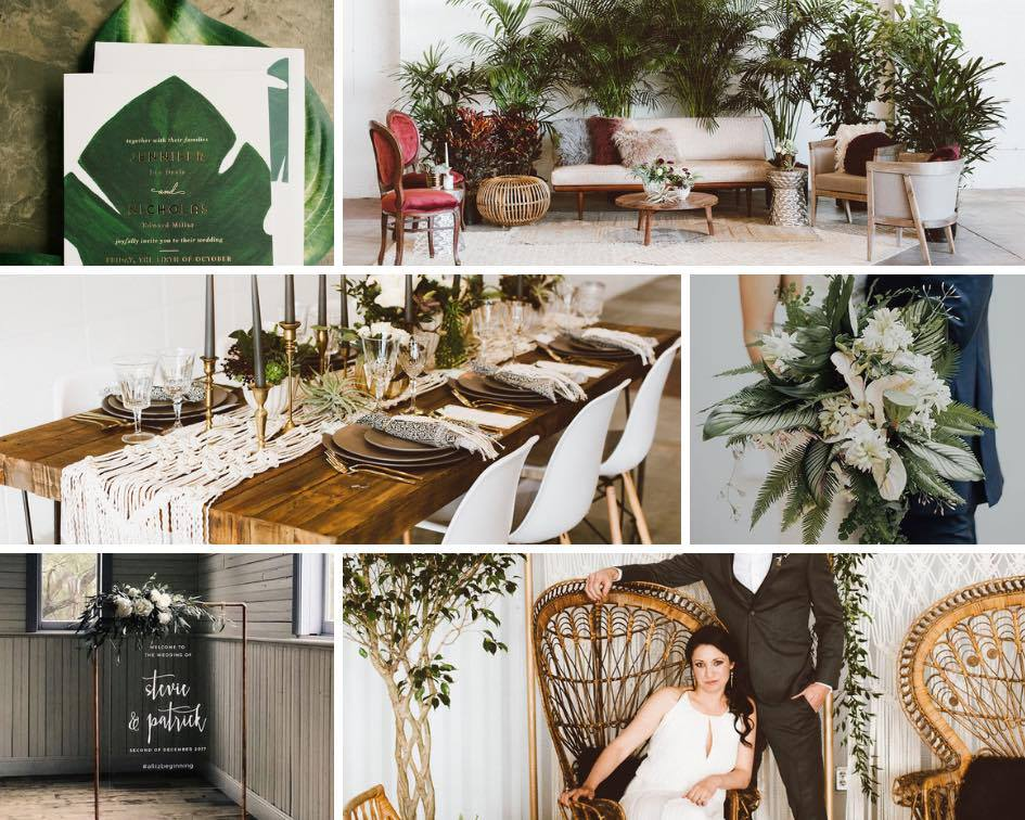 Tropical Destination Wedding Mood Board | Moody, boho, eclectic, vintage, modern wedding | www.thoughtfully-thrifted.com