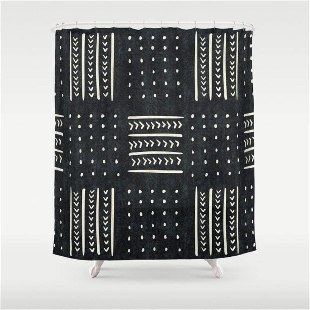 Black Mudcloth Shower Curtain