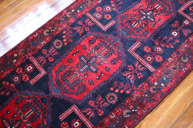 Red & Blue Vintage Persian Rug/Runner