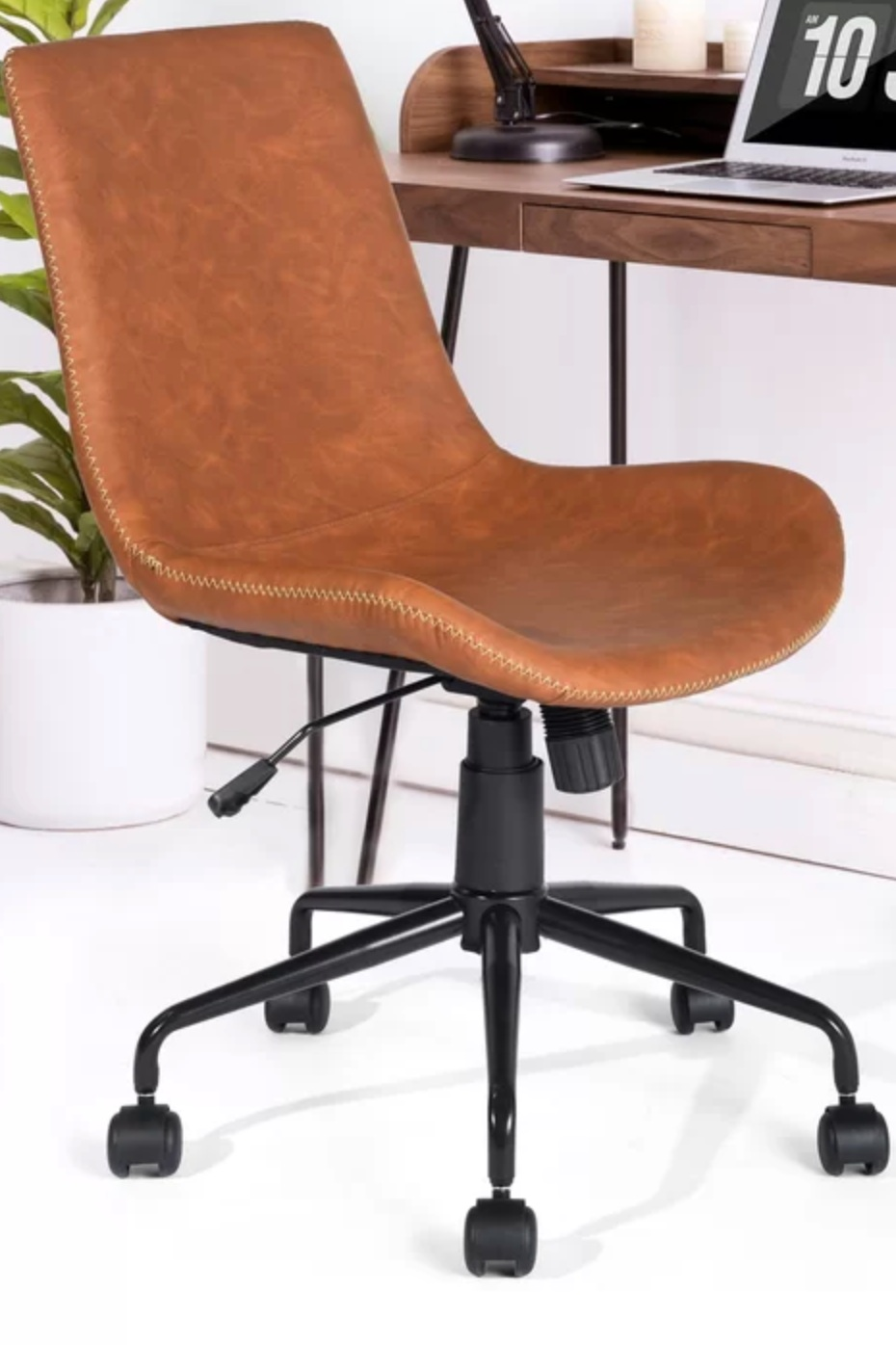 Camel Brown Leather Office Chair.