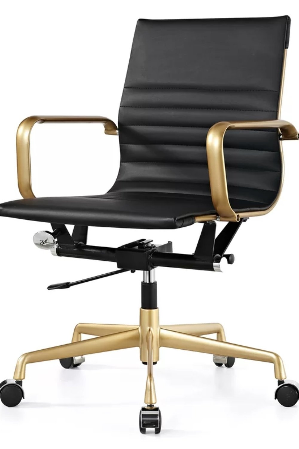 Vegan Leather Office Chair Black and Gold
