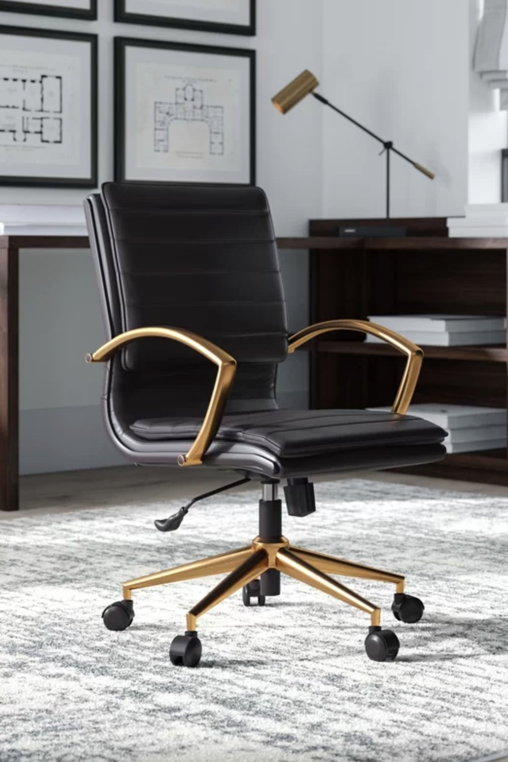 Opheim Mid-back Office Chair Black and Gold.