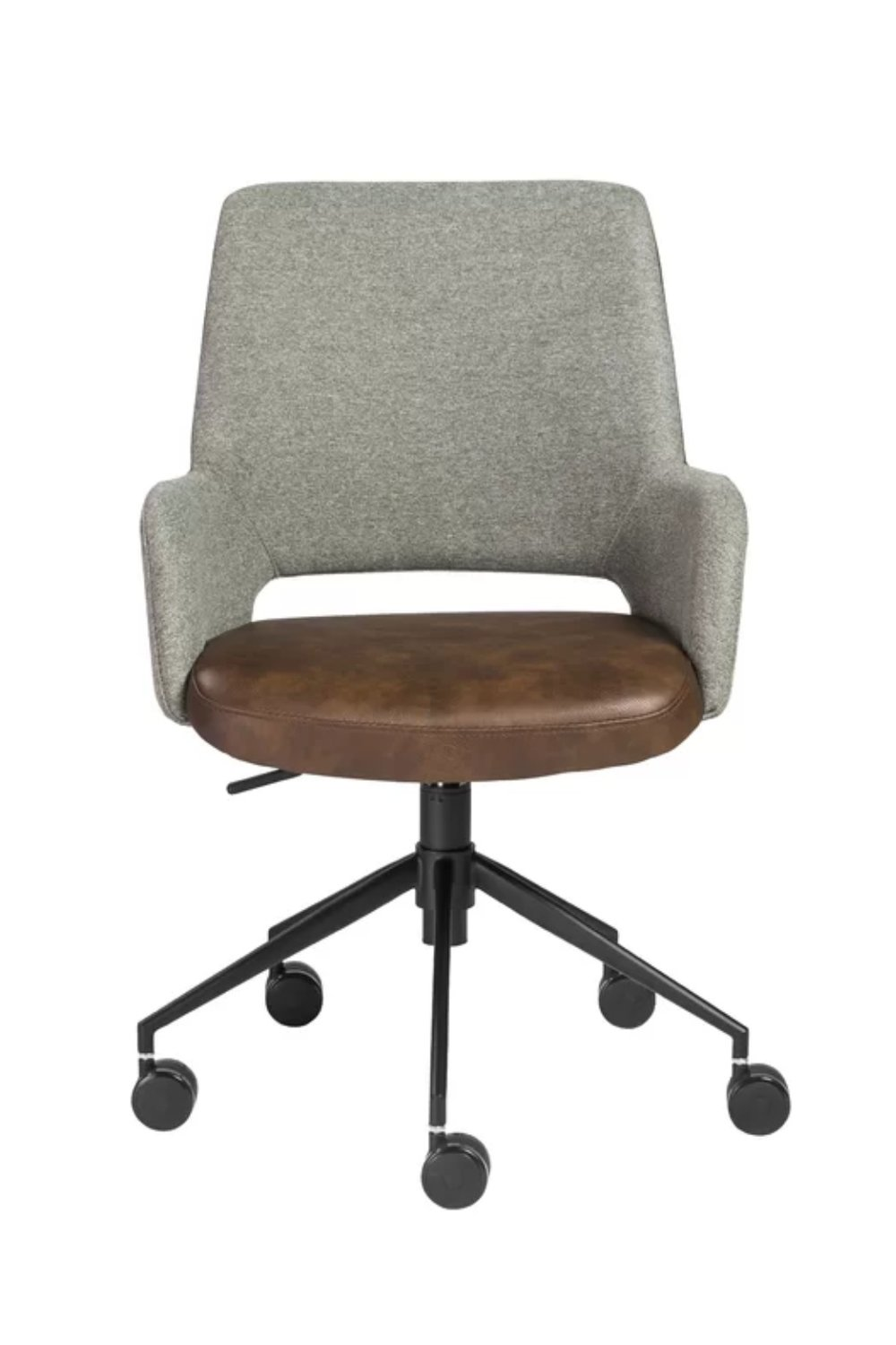 Amini Grey and Brown Leather Office Chair with Black Legs
