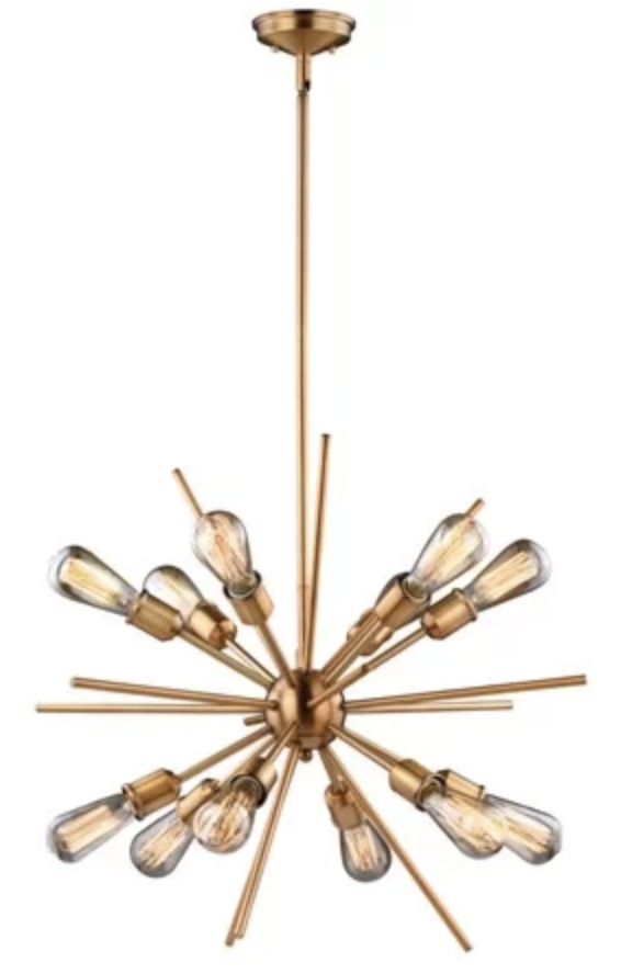 Brass Starburst Light Fixture