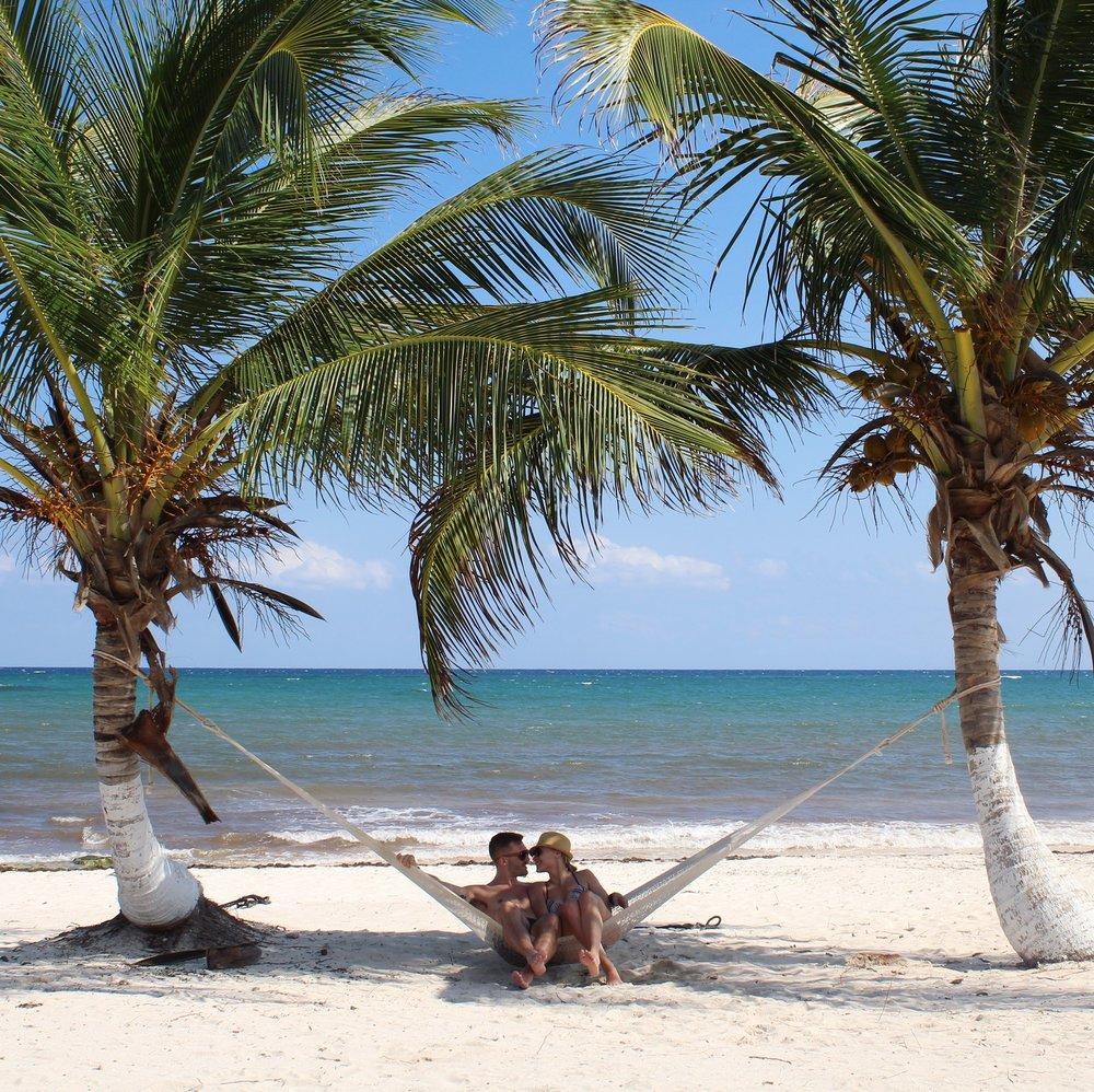 Tulum Mexico Palm Trees Couple