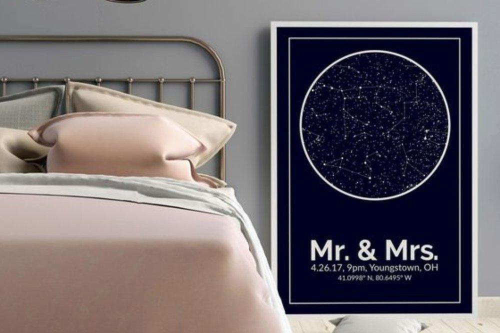 Unique Valentine's Day Gift for Him, Boyfriend, Fiance, Husband | Custom Night Sky Star Map, Custom Street Map