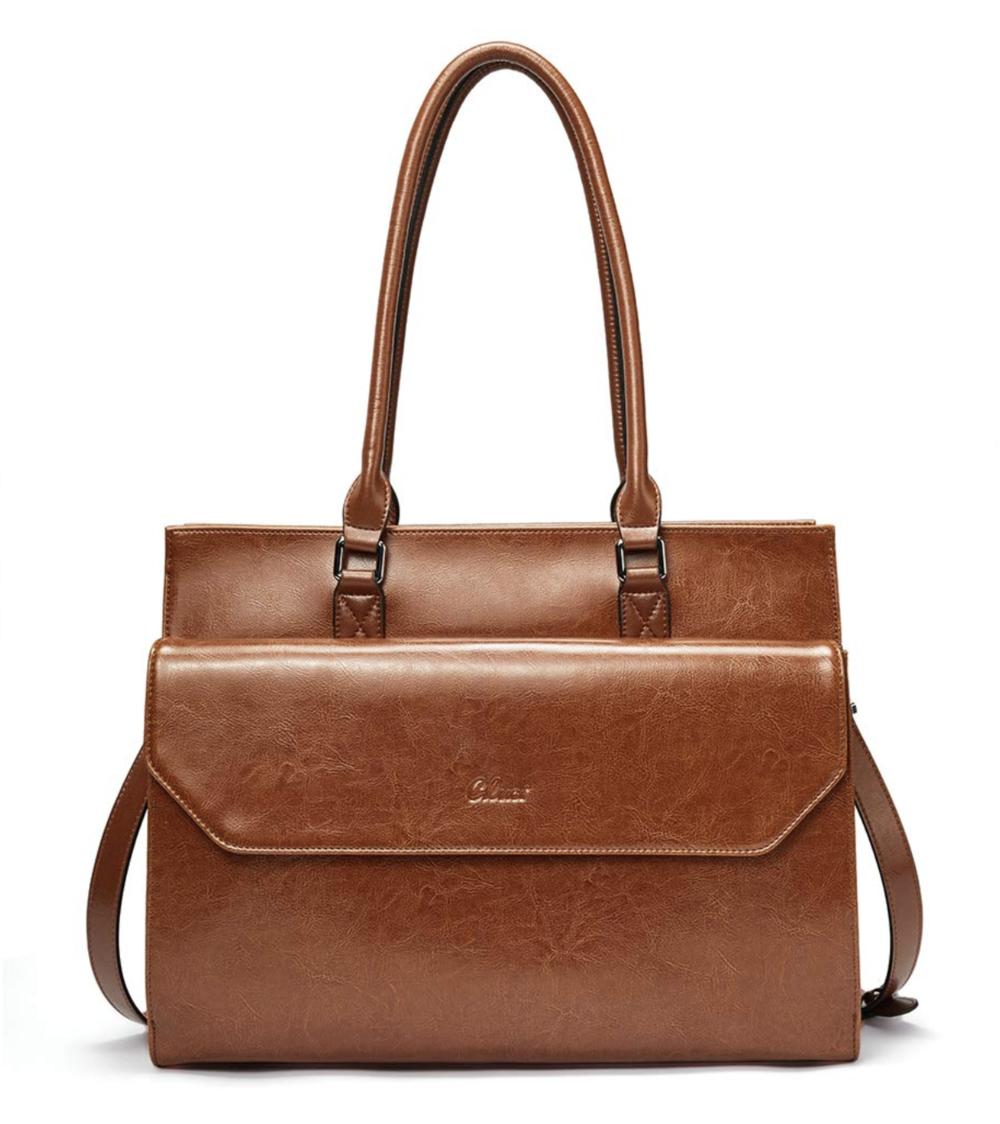 Briefcase for Women Oil Wax Leather Vintage Shoulder Bag 15.6 Inch Laptop Handbag Business Tote