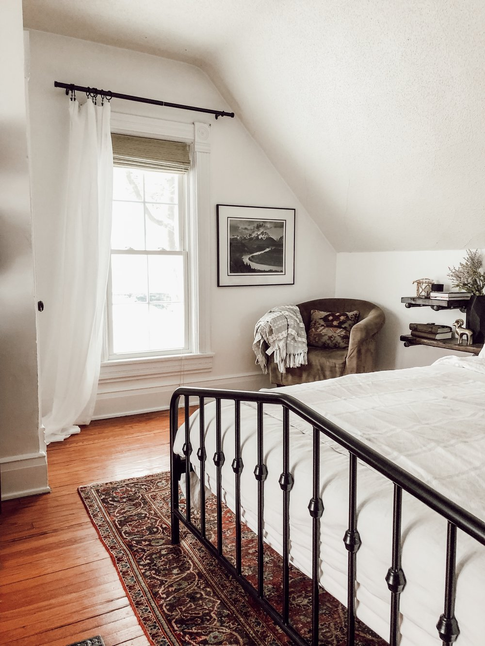 White Master Bedroom with Persian Rug | Miranda Schroeder House Tour