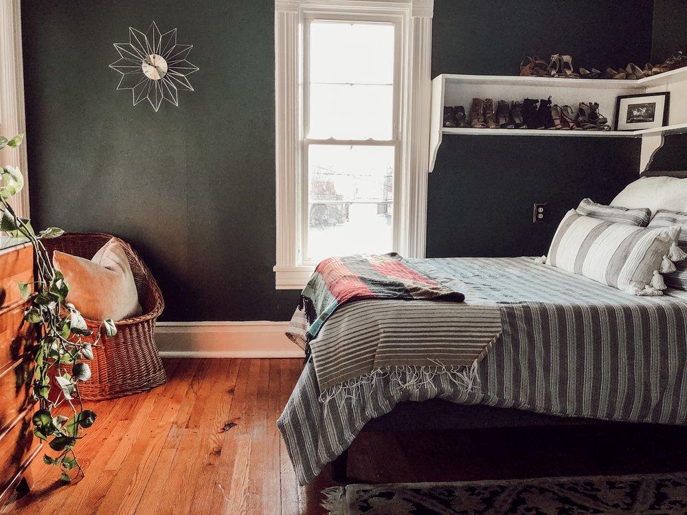 Spare Bedroom, Green Walls | Miranda Schroeder House Tour