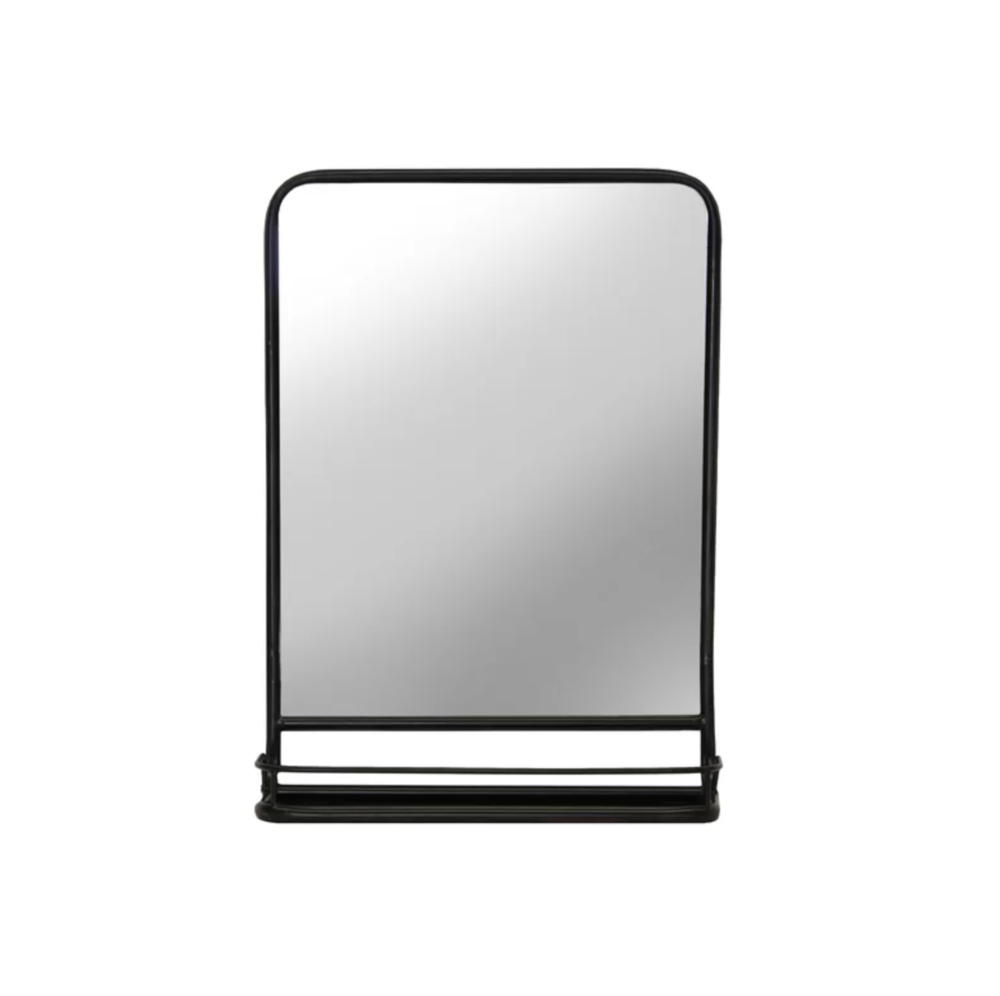 Black Rectangle Accent Mirror with Shelf | Shop Miranda Schroeder Blog