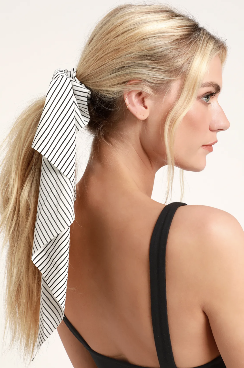 White and Black Striped Hair Scarf Scrunchie | Accessories | Shop Miranda Schroeder Blog