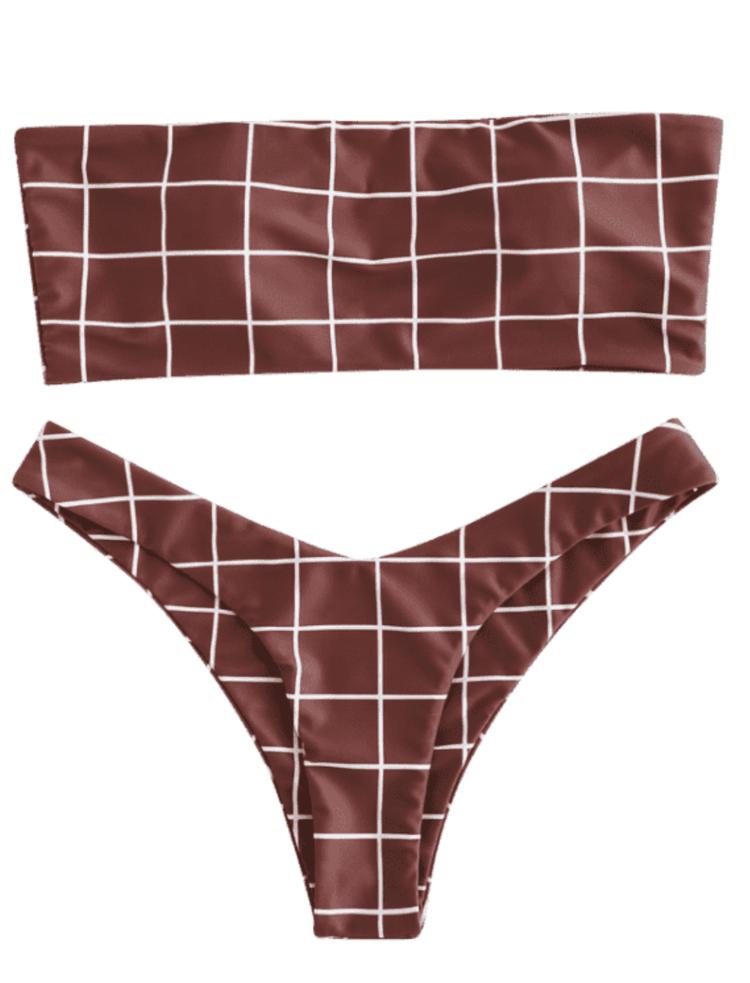 562b187115b Plaid Bandeau High Leg Bikini Set - Red Wine | Cute, Sexy Honeymoon,  Vacation