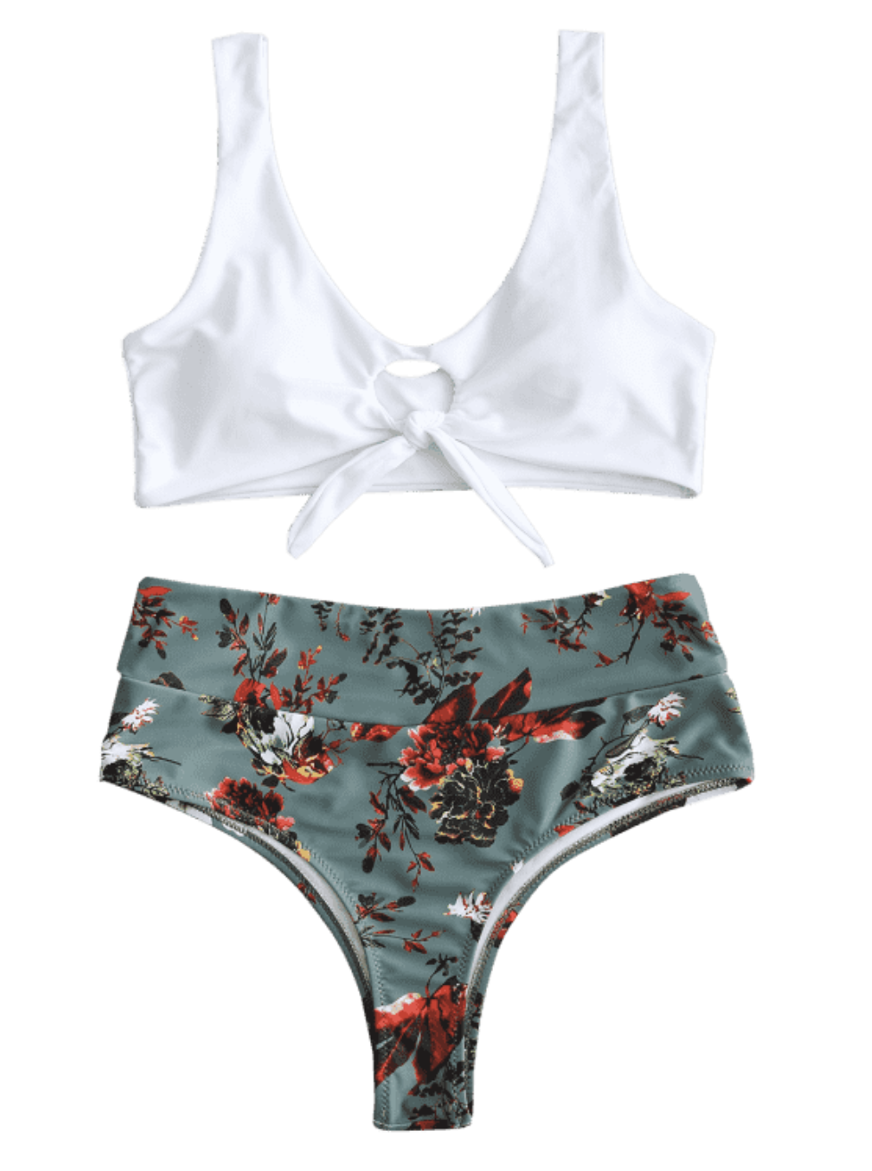 Front Knot Floral Bikini Set - Hazel Green | Cute, Sexy Honeymoon, Vacation, Summer Bikinis, Swim Suits | Miranda Schroeder Blog
