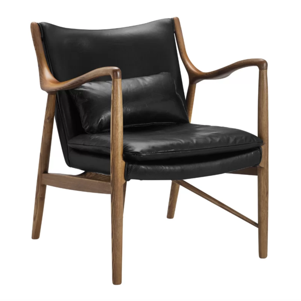 Black Leather and Walnut Wood Armchair Accent Chair Roundup | Modern, Industrial, Rustic, Beach, Boho Accent and Arm Chairs | Miranda Schroeder Blog