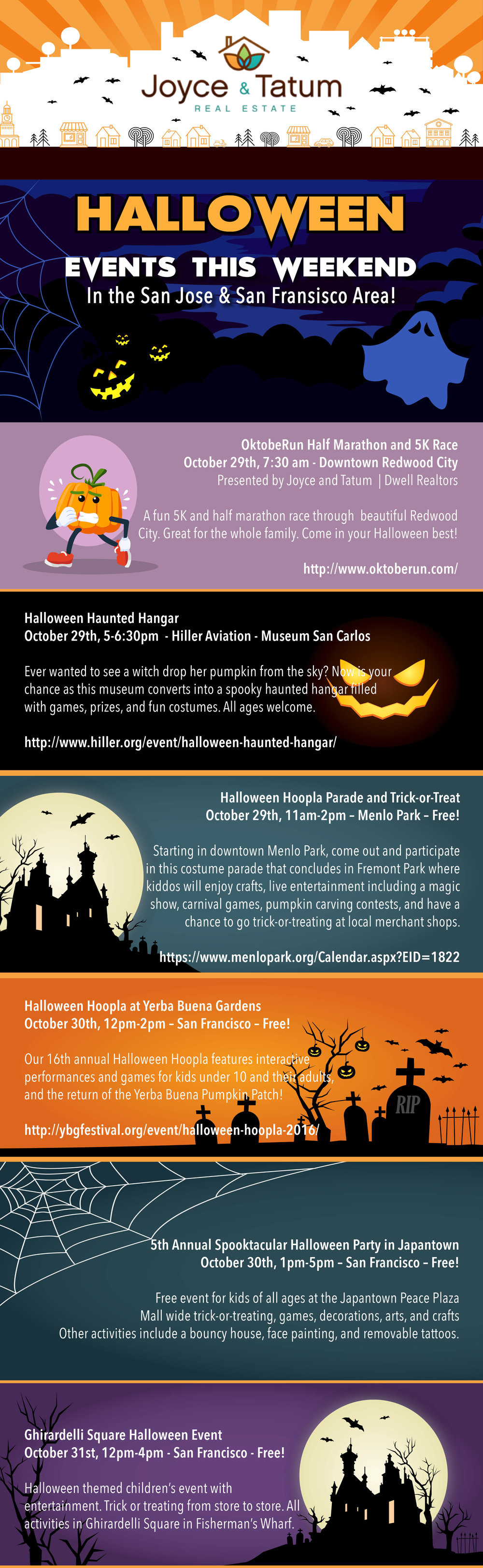 Infographic of Halloween 2016 events in the San Francisco and San Mateo area for 2016