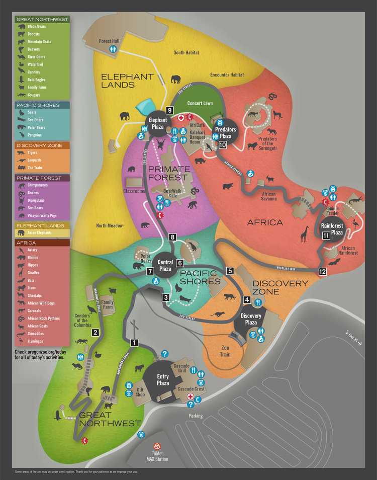 Bears In Oregon Map.Oregon Zoo Map Robin Anderson