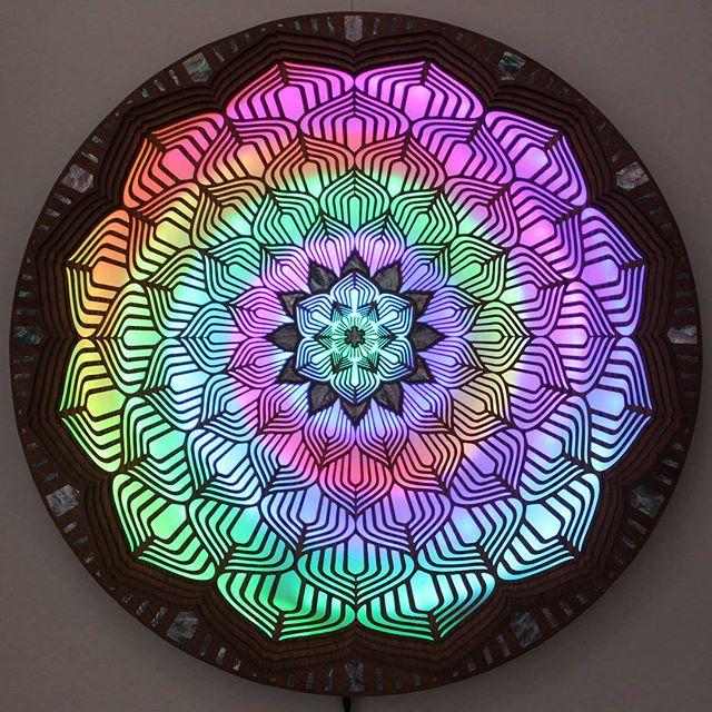 "Lotus Heart 💜🔥36""x36"" abalone inlay 🐚 #infinitebloom #art #artislife #artistsofinstagram #led #ledart #sacredgeometry #illumination #burningman #thatthinginthedesert #industwetrust #visionaryart  #symbiosisgathering #fractal #edm #rave #festival #lightninginabottle #gemandjamfestival #deserthearts #lucidityfestival #sonicbloom #edc #beyondwonderland #psychedelicart #meditation #yoga #mandala"