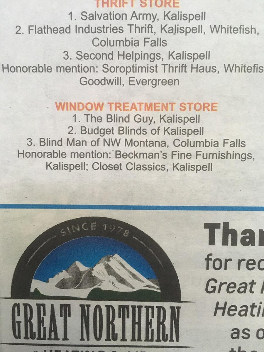 Best of Kalispell 2018 Window Treatment Store Rankings