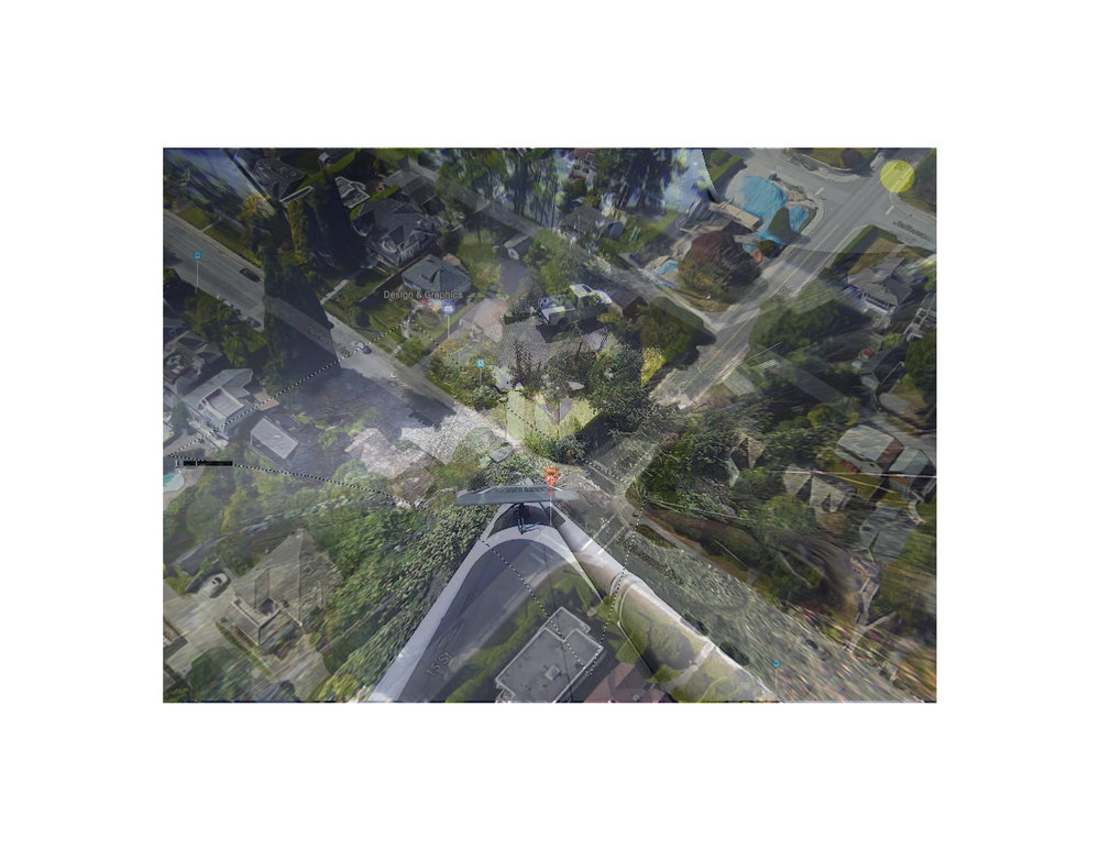 "British Columbia, Canada Photo collage (Google Map locator, surveillance camera still) 16"" x 20"" 2017"