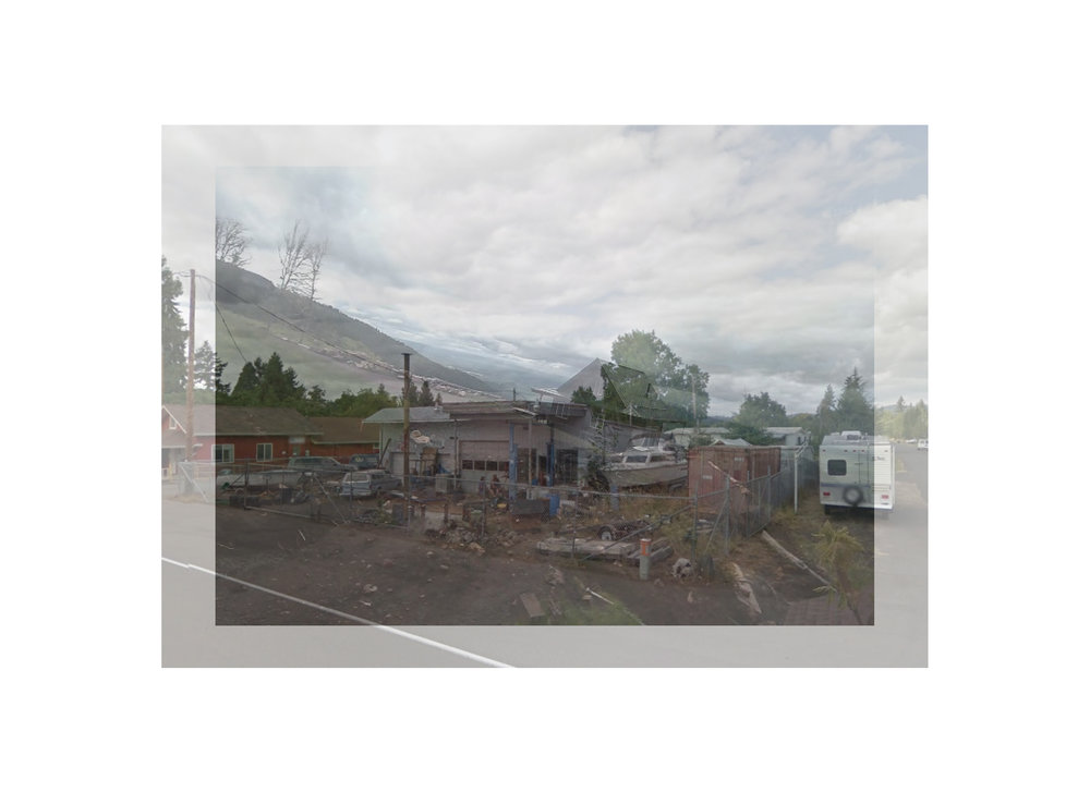 "Dexter, Oregon, USA Photo collage (Google Map Street View, surveillance camera still) 16"" x 20"" 2017"