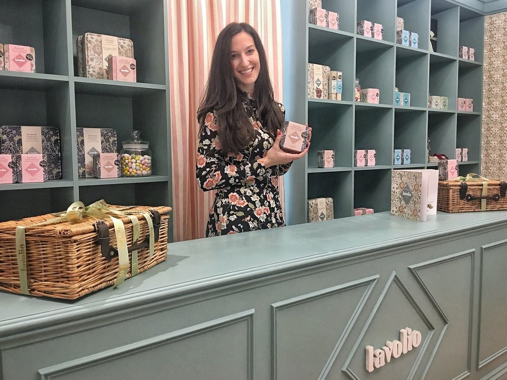 Lavolio Boutique Confectionery London Parsons Green Lavinia Davolio Founder with Italian Delicacies Shop.jpg