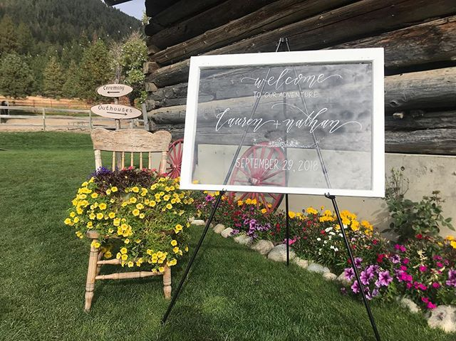 Had the pleasure of writing a couple of signs for dear friends' wedding last weekend. It was an honor to be a part of your special day Lauren & Nathan! 💕💕 #marryingmotsinger