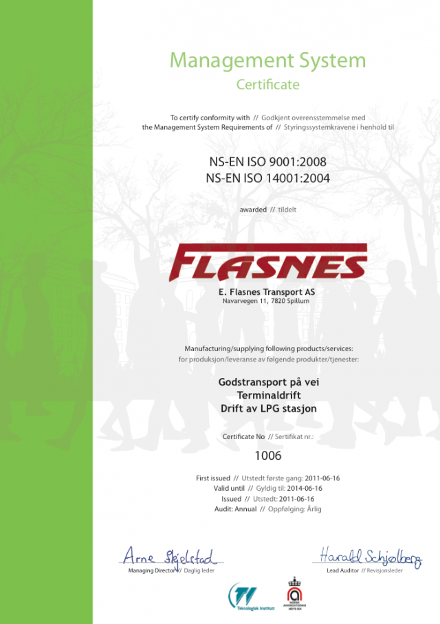 0b3e4d72 E.Flasnes Transport AS er ISO-sertifisert — Flasnes Transport