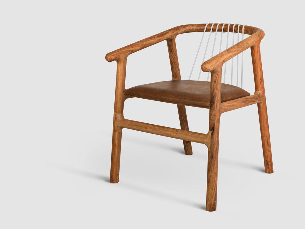 Stoel 9 Joburg David Krynauw chair design solid wood ontwerp leer leather weave
