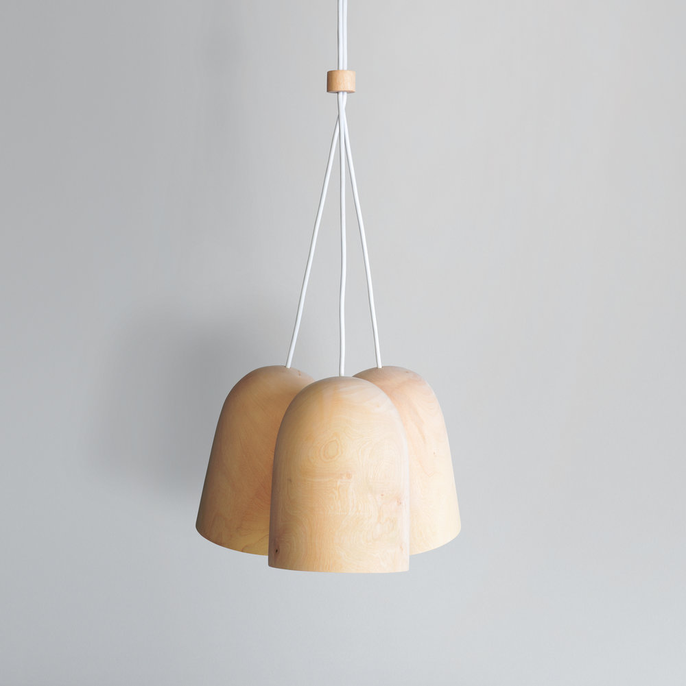 Dome Pendant Cluster light lighting design David Krynauw ontwerp solid wood jacaranda chandelier